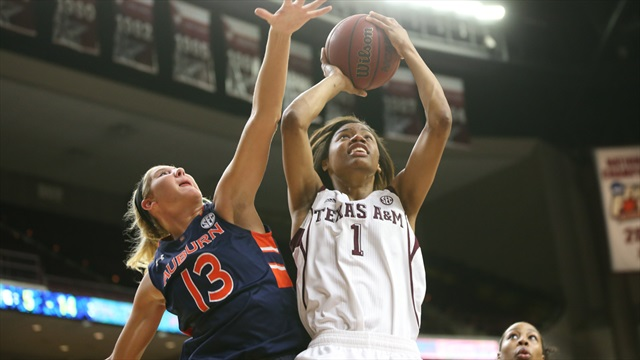 WBB: A&M moves into SEC quarterfinals with 57-47 win over Auburn